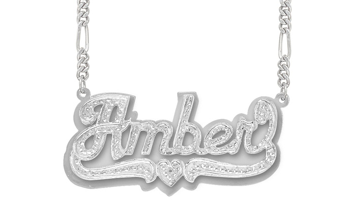 Personalized Beaded Nameplate Necklace In Silver Or Gold Plating From Monogramhub Up To 67 Off