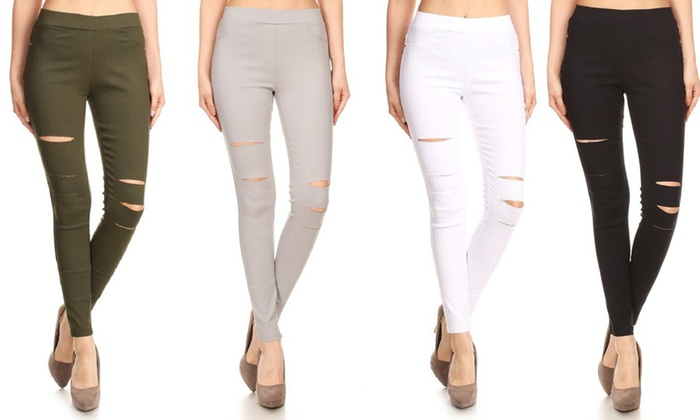 cad9980d5e2 Women s High-Waist Pull-On Ripped Skinny Jeggings. Also in Plus ...