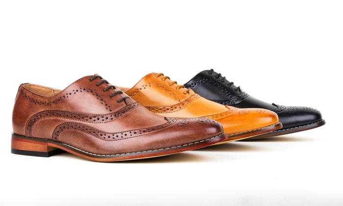 Gino Vitale Men's Wing Tip Oxford Dress Shoes