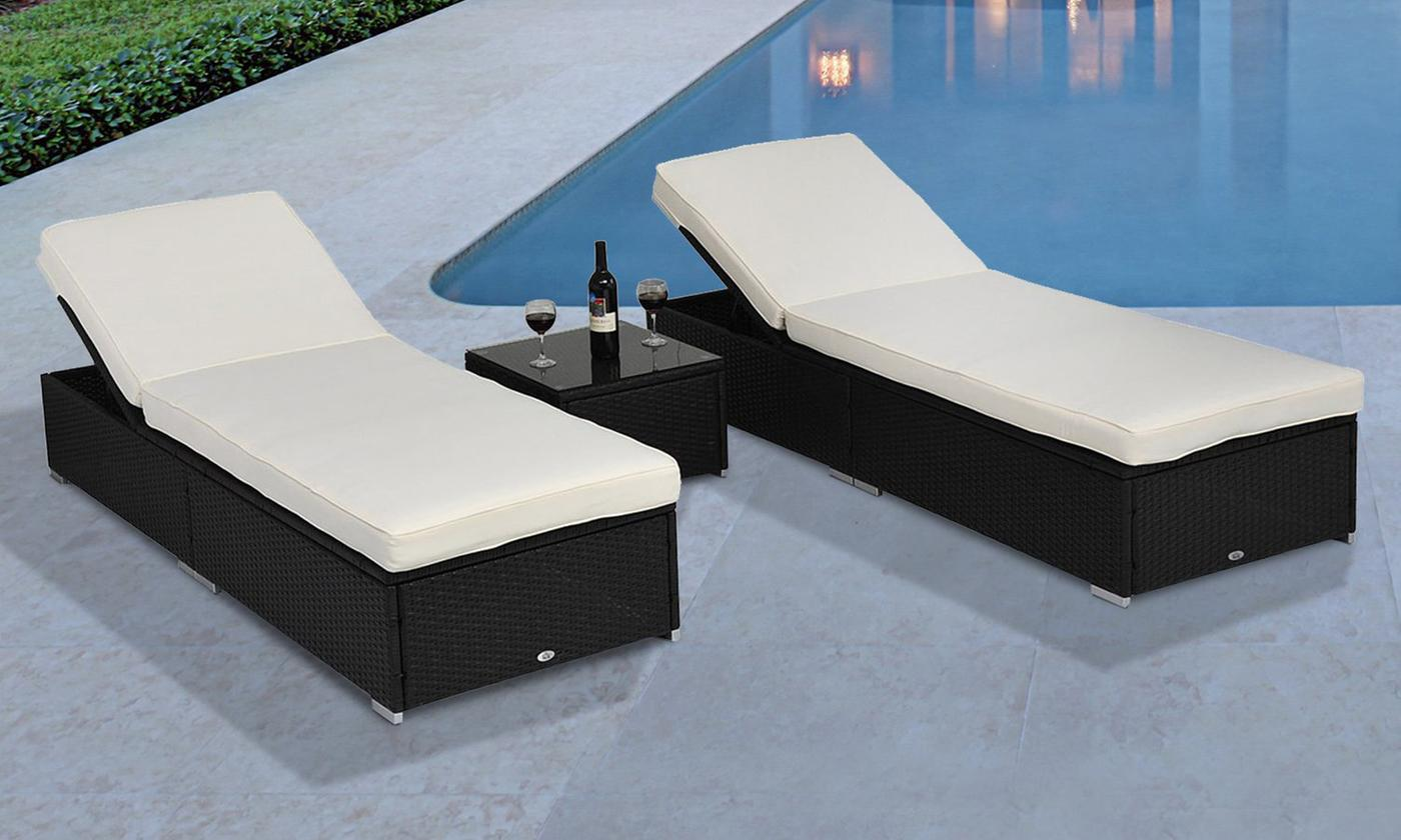Outsunny Three-Piece PE Rattan Lounger Recliner Set (£298)