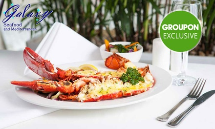 Three-Course Lobster Dining for 1 ($30), 2 ($59.90) or 4 People ($119.80) at Galaxy Seafood & Mediterranean Restaurant