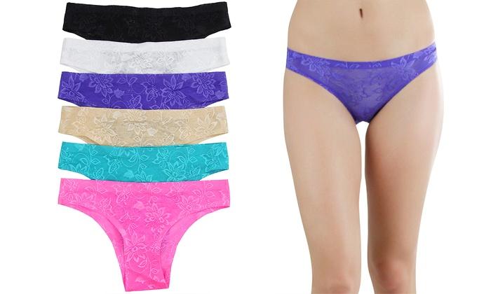 Women's No Show Floral Lace Tanga Panties (6-Pack)