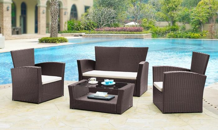 four piece rattan effect garden set groupon goods. Black Bedroom Furniture Sets. Home Design Ideas