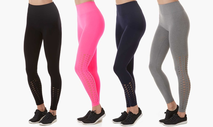 Form + Focus Women's Seamless Laser-Cut Leggings in Standard and Plus Sizes   Groupon Exclusive