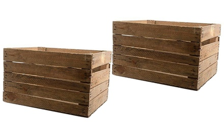 Gardening Naturally Ltd Two Rustic Wooden Storage Crates