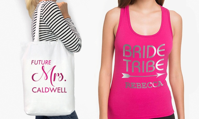 Personalized Bridal Party Tank Tops and Tote Bags from Monogram Online (Up to 52% Off). Five Options Available.
