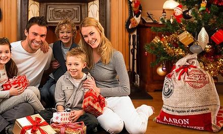 Saco para presentes do Pai Natal personalizável e disponível em dois tamanhos desde 19,90€