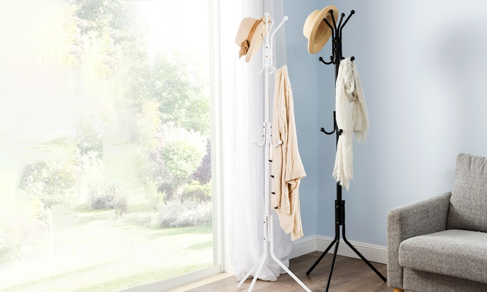 White or Black Twelve-Hook Coat Stand from £6.98