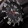 Men's Joshua & Sons Swiss Sport Multi-Function Leather Strap Watch