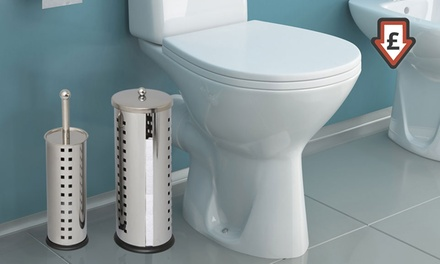 Toilet Brush and Roll Holders with Square Design