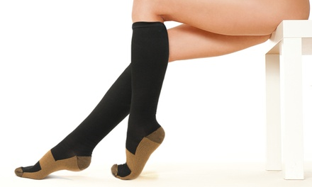 One, Two or Four Pairs of Copper-Infused Compression Socks