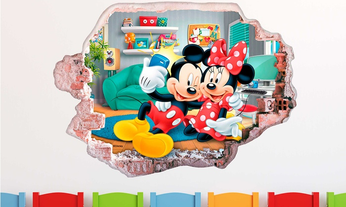 stickers muraux 3d disney mickey et minnie groupon shopping. Black Bedroom Furniture Sets. Home Design Ideas
