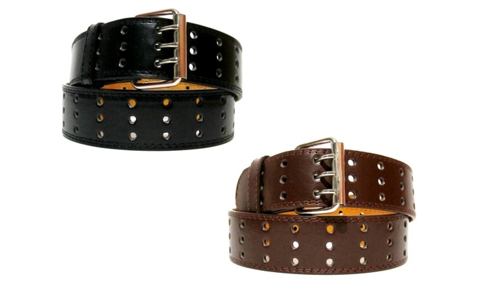 Men's 3-Hole Leather Belts (2-Pack)