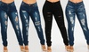 Women's High-Waist Distressed Stretchy Jeans in Plus Sizes