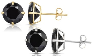 Men's 4.00 CTTW Black Stud Earrings in Solid 14K Yellow or White Gold
