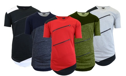 Men's Solid or Marled Zipper T-Shirt