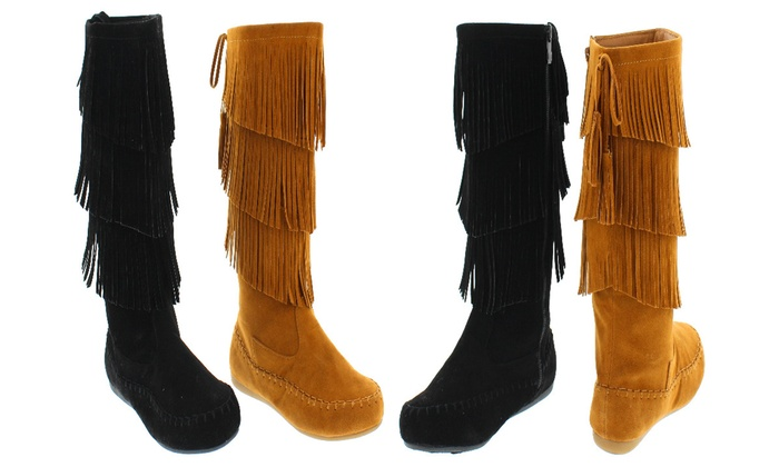 Mata Women's Triple-Layer Fringe Boots