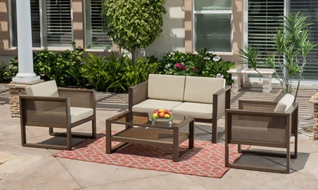 Cerrano Outdoor Aluminum Chat Set with Cushions (4-Piece) 2d336018-8d30-495f-b894-1aa1156b45a0