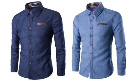 Mens Denim Slim-Fit Shirt in Choice of Colour and Size