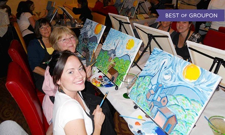 Wine and painting for one or two wine and canvas groupon for Sip and paint charlotte nc