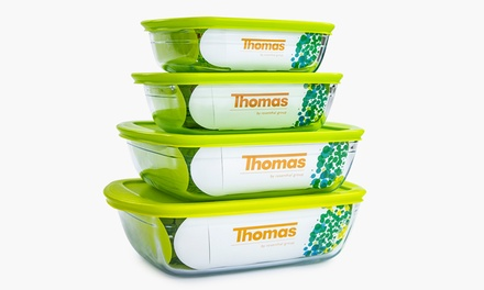 Thomas EightPiece OvenSafe Glass Food Storage Container Sets with Sealable Lids