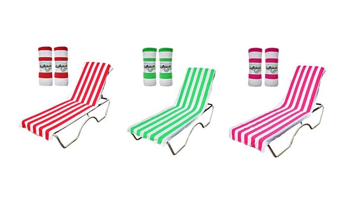 J M Home Fashions Lounge Chair Beach Towel 2 Pack