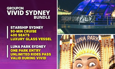 VIVID + LUNA PARK BUNDLE: $49 Min Vivid Cruise + Luna Park Ticket with Starship Sydney Up to $94 Value