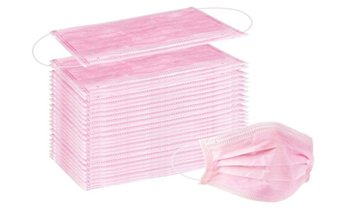 Disposable Non-Medical 3-Ply Pink Face Masks (50-Pack)