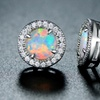 Fire Opal and White Gold Plated Round Stud Earrings by Peermont