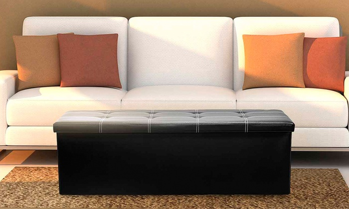 Faux Leather Ottoman Stool Groupon Goods