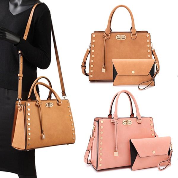 ddc70438da4237 MK Belted Collection Vegan Satchel Handbag with Clutch | Groupon