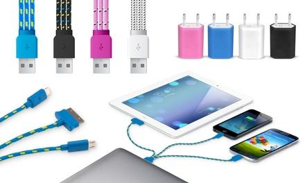1x oder 2x 3-in-1 geflochtenes Ladekabel in der Farbe nach Wahl, optional mit AC-Adapter (bis zu 90% sparen*)