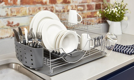 Tower TwoTier Dish Rack with Cutlery Holder