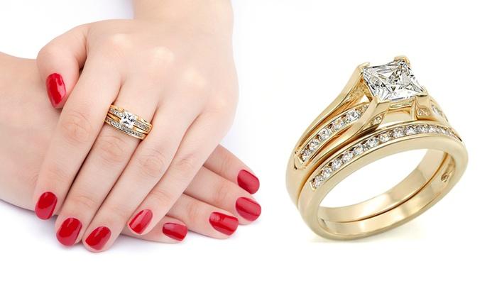 Novia Canoa medios de comunicación  Juego de anillos de compromiso y de boda Ah Jewellery bañado en oro con  cristales de Swarovski®