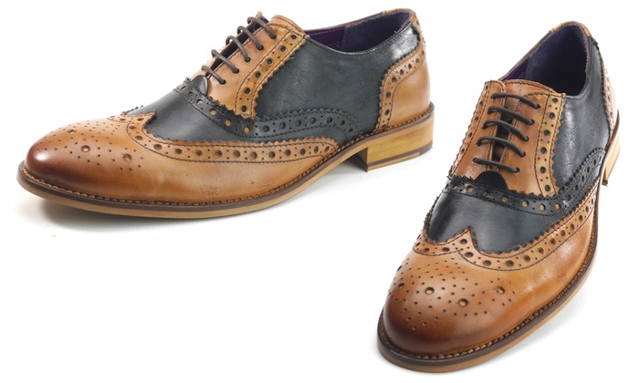 great deals 2017 crazy price on sale Frank James Men's Leather Two-Tone Lace-Up Brogue Shoes
