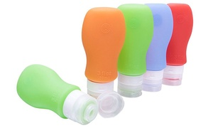 Silicone Travel Bottles with Cosmetic Bag (4-Piece)