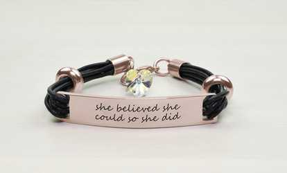 d8205c19cb18 Shop Groupon Pink Box Genuine Leather Bracelet with AB Crystals from  Swarovski