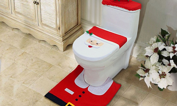 3 Pc Christmas Toilet Cover Set Groupon