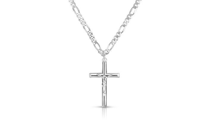 Mens cross pendant with 24 heavyweight figaro chain in sterling mens cross pendant with 24 heavyweight figaro chain in sterling silver mozeypictures Gallery