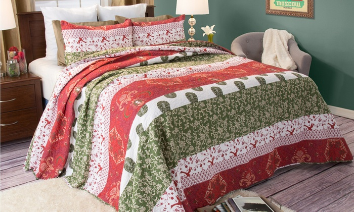 Up To 74 Off On Closeout Cotton Quilt Set Groupon Goods