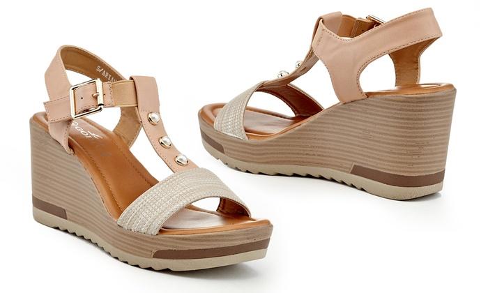 59147cf07 Lady Godiva Women s Audrey T-Strap Comfort Wedge Sandals (Size 7.5 ...