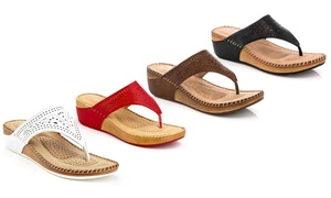 Lady Godiva Women's Allison Comfort Wedge Slide Thong Sandals