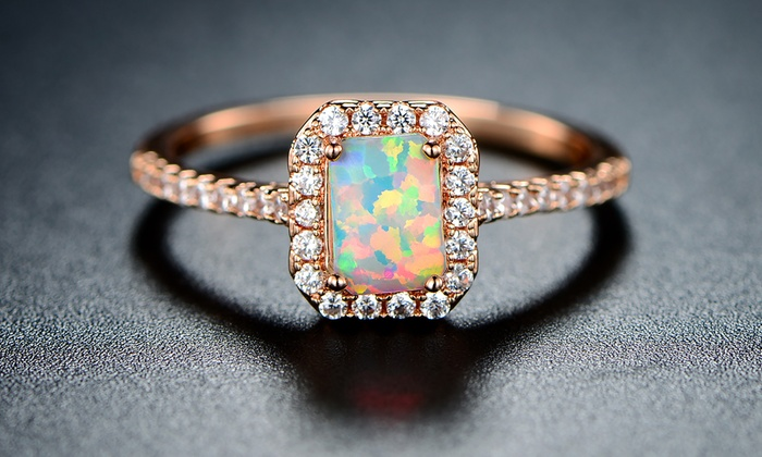 PrincessCut White Fiery Opal Ring in 18K Rose Gold Plating 5