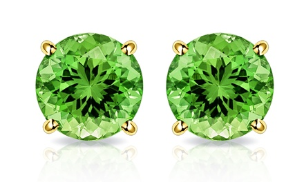 2.00 CTW Peridot Stud Earrings in Solid 10K Gold by MUIBLU Gems