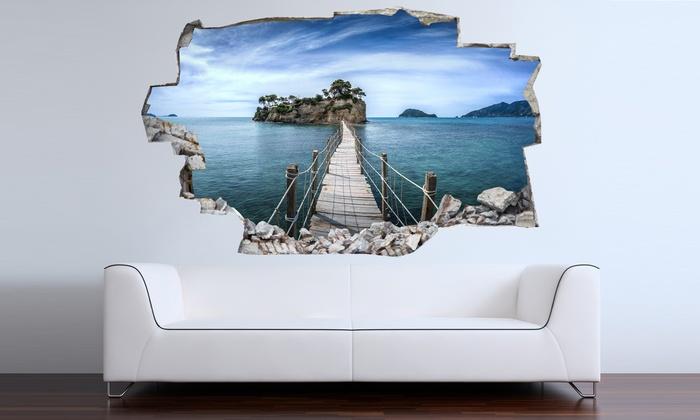 Adesivi 3d da muro 135 x 68 cm groupon goods for Adesivi parete 3d