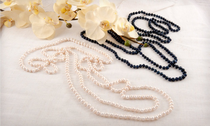 "100"" Pearl Necklace: $24.99 for a 100"" Pearl Necklace in White or Peacock ($299 List Price). Free Shipping and Returns."