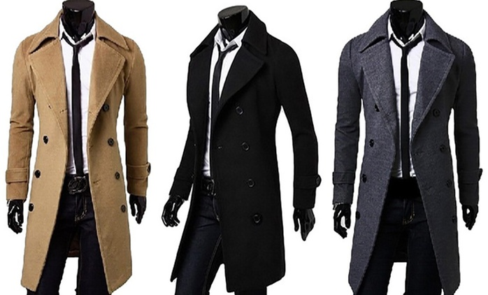 Men's Smart Double Breasted Coat for €35.99 With Free Delivery (61% Off)