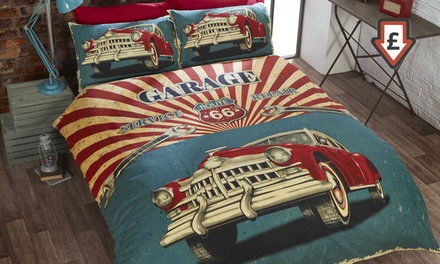 Retro Style Garage Reversible Duvet Set in Choice of Size