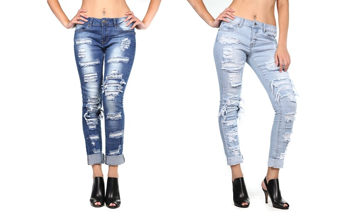 V.I.P Jean Women's Stretchy Skinny Distressed Denim (11/12) | Groupon