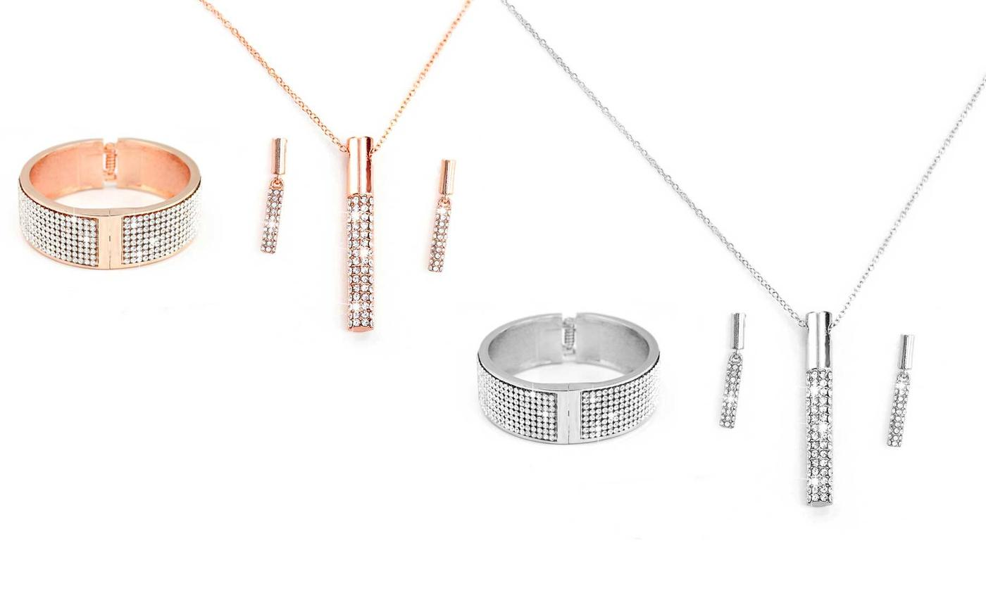 One or Two Sets of Vela Bangle, Pendant and Earrings with Crystals from Swarovski®